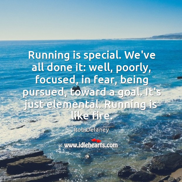 Running is special. We've all done it: well, poorly, focused, in fear, Rob Delaney Picture Quote