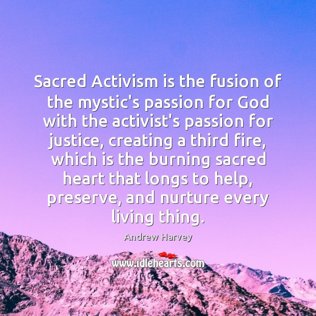 Image, Sacred Activism is the fusion of the mystic's passion for God with