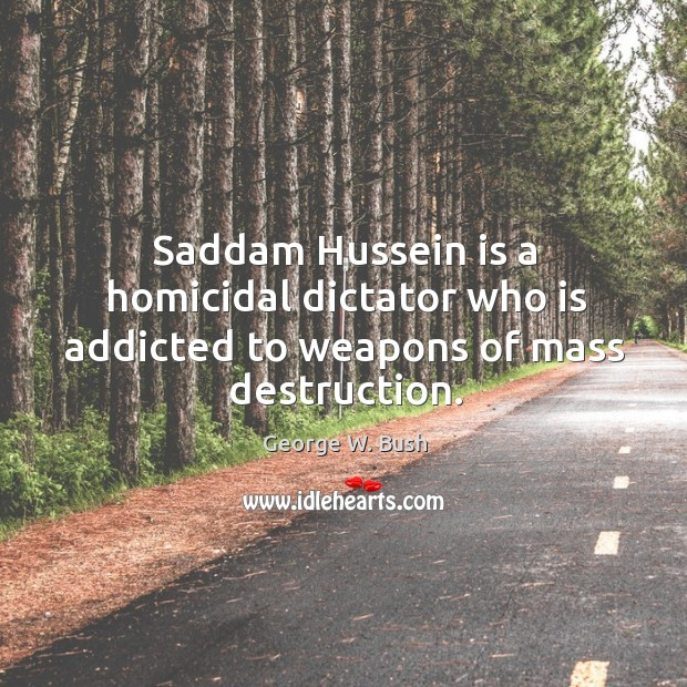 Image, Saddam hussein is a homicidal dictator who is addicted to weapons of mass destruction.