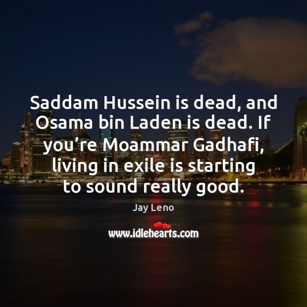 Image, Saddam Hussein is dead, and Osama bin Laden is dead. If you'