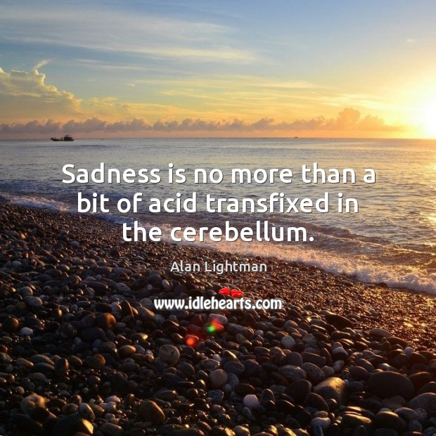 Sadness is no more than a bit of acid transfixed in the cerebellum. Alan Lightman Picture Quote