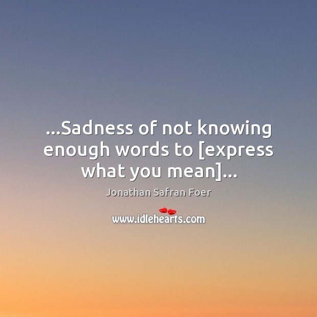 …Sadness of not knowing enough words to [express what you mean]… Jonathan Safran Foer Picture Quote