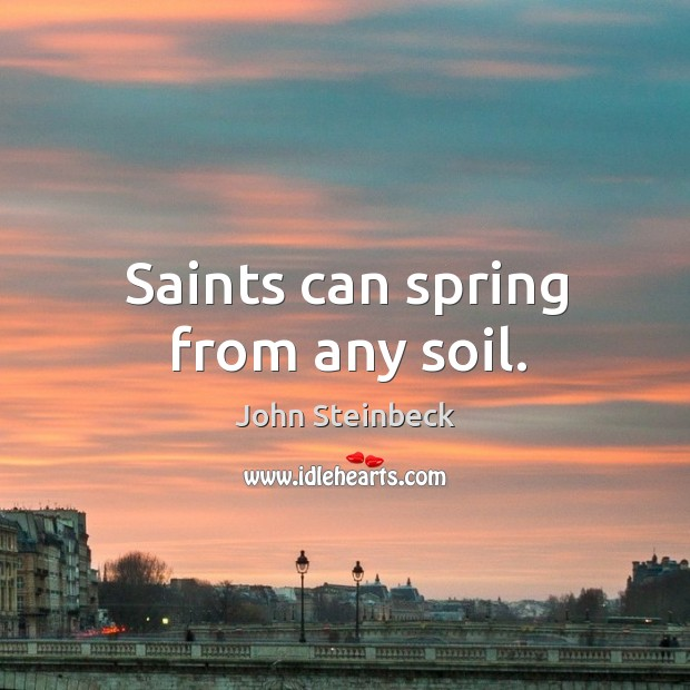 Saints can spring from any soil. Image