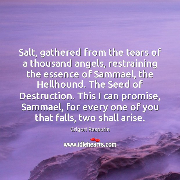 Salt, gathered from the tears of a thousand angels, restraining the essence Promise Quotes Image