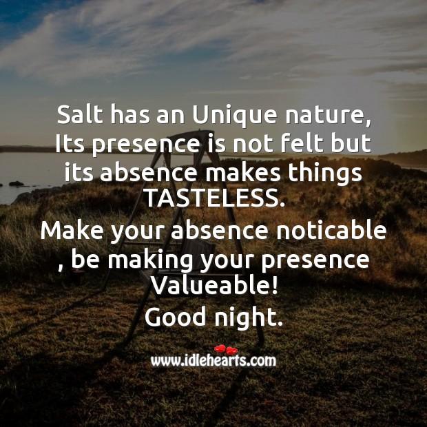 Salt has an unique nature Good Night Messages Image
