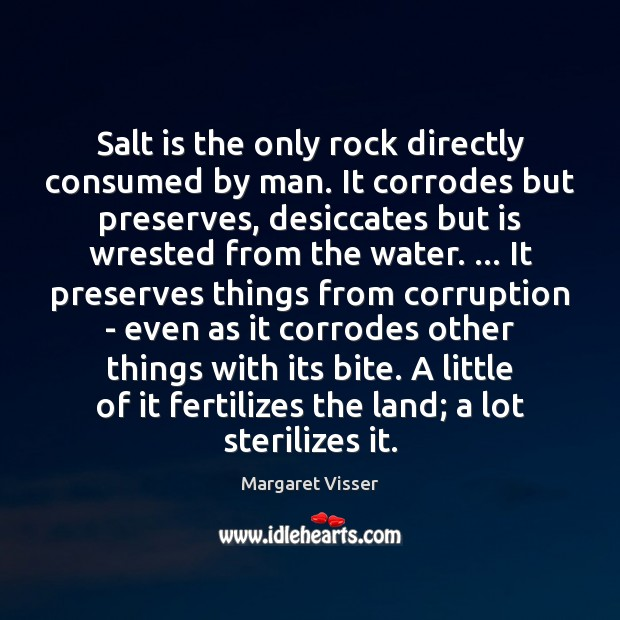 Salt is the only rock directly consumed by man. It corrodes but Image