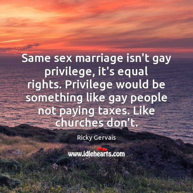 Same sex marriage isn't gay privilege, it's equal rights. Privilege would be Image
