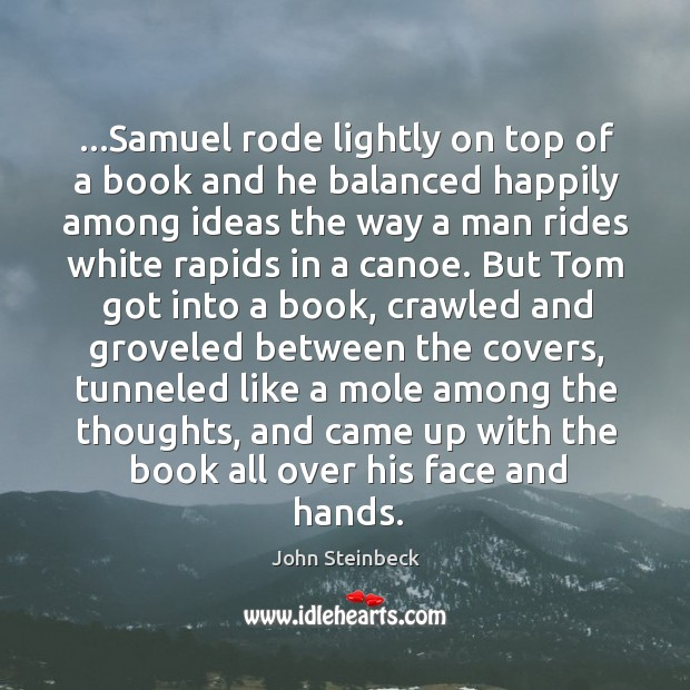 …Samuel rode lightly on top of a book and he balanced happily Image