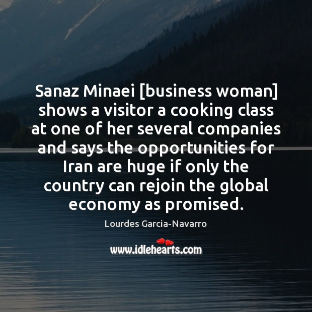 Sanaz Minaei [business woman] shows a visitor a cooking class at one Image