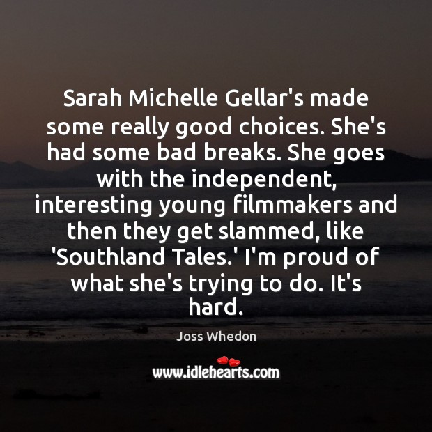 Sarah Michelle Gellar's made some really good choices. She's had some bad Image