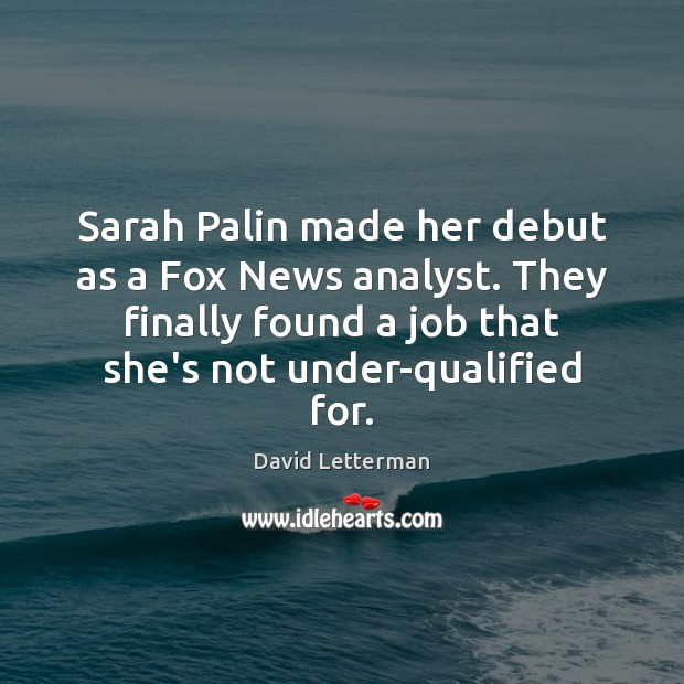 Image, Sarah Palin made her debut as a Fox News analyst. They finally