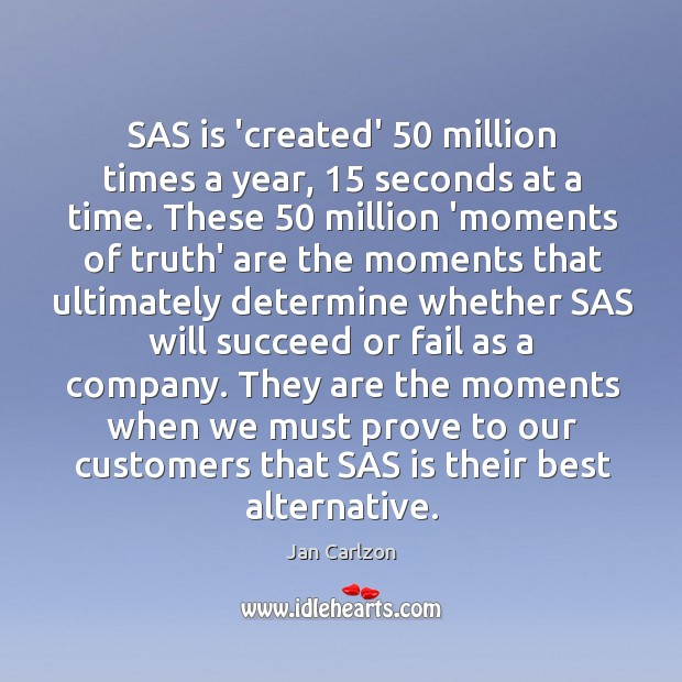 SAS is 'created' 50 million times a year, 15 seconds at a time. These 50 Image