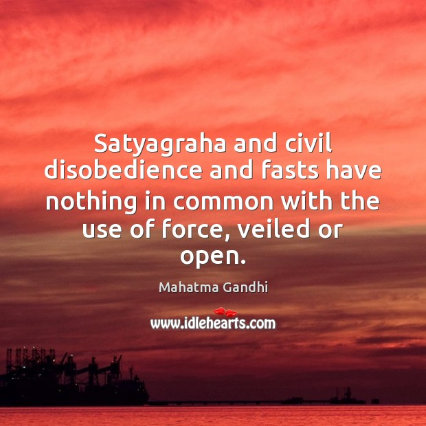 Satyagraha and civil disobedience and fasts have nothing in common with the Image