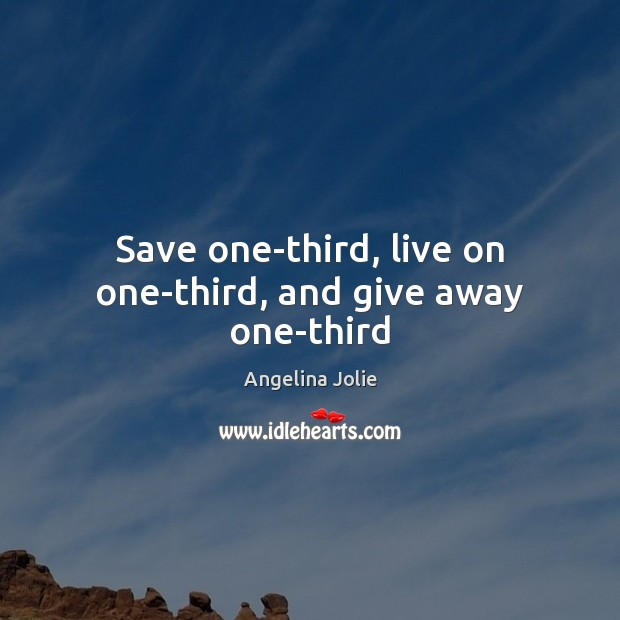 Image, Save one-third, live on one-third, and give away one-third