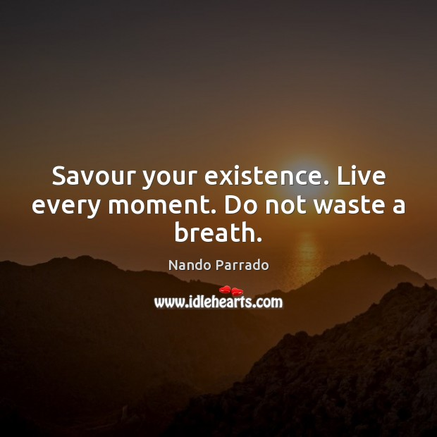 Image, Savour your existence. Live every moment. Do not waste a breath.