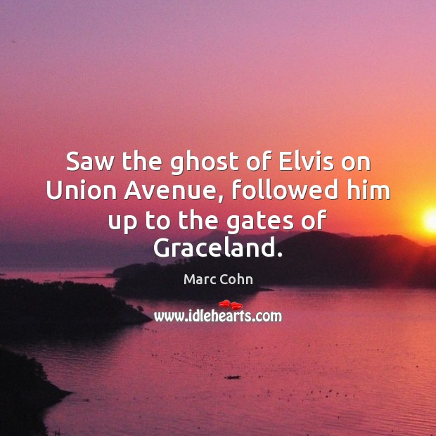 Saw the ghost of Elvis on Union Avenue, followed him up to the gates of Graceland. Marc Cohn Picture Quote