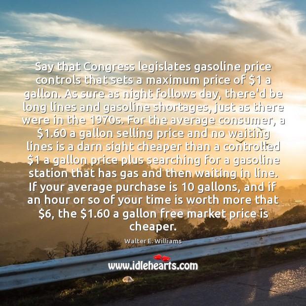 Image, Say that Congress legislates gasoline price controls that sets a maximum price