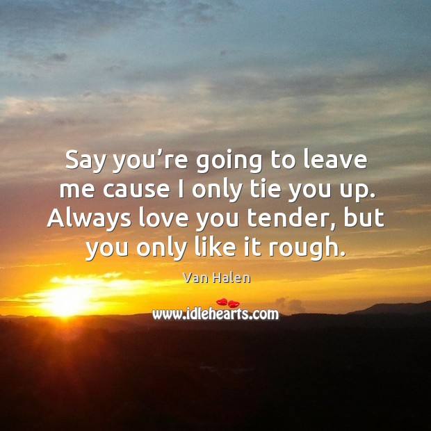 Say you're going to leave me cause I only tie you up. Always love you tender, but you only like it rough. Van Halen Picture Quote