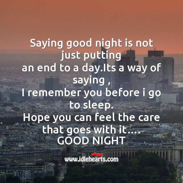 Image, Saying good night is not just putting
