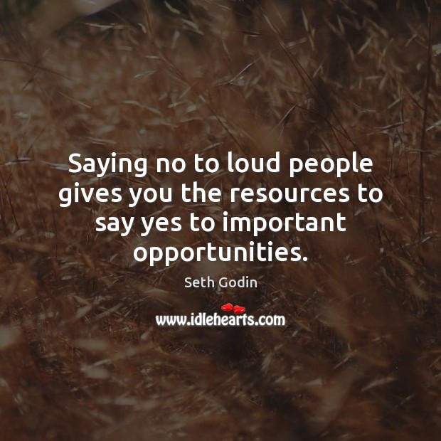 Image, Saying no to loud people gives you the resources to say yes to important opportunities.