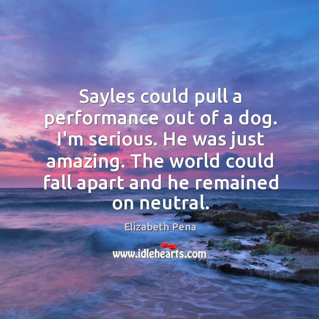 Sayles could pull a performance out of a dog. I'm serious. He Image