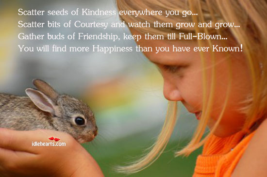 Image, Bits, Blown, Buds, Courtesy, Ever, Everywhere, Find, Friendship, Full, Gather, Go, Grow, Happiness, Keep, Kindness, Known, More, Scatter, Seeds, Than, Them, Till, Watch, Will, You