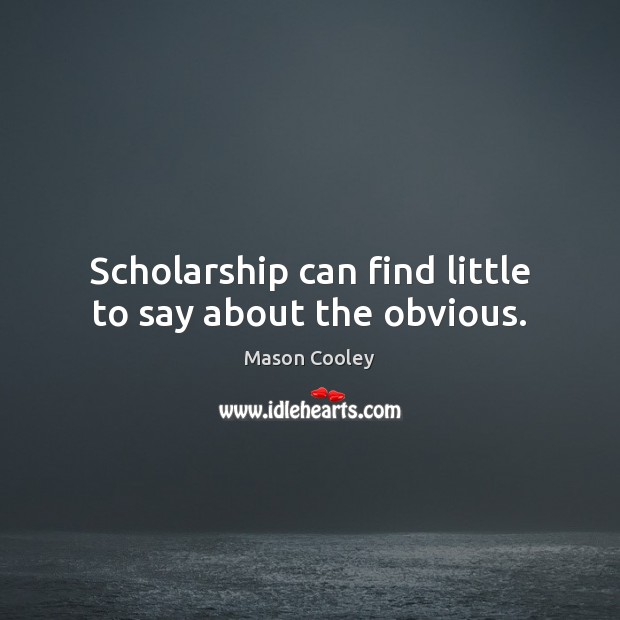 Scholarship can find little to say about the obvious. Image