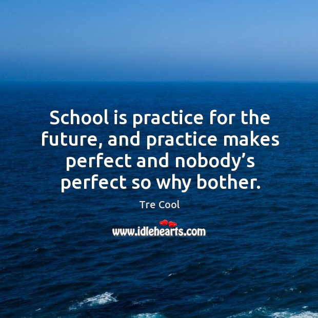 School is practice for the future, and practice makes perfect and nobody's perfect so why bother. Tre Cool Picture Quote
