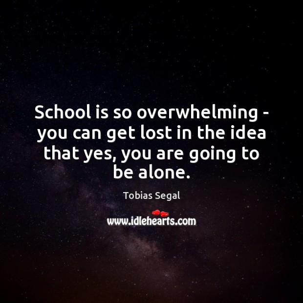 School is so overwhelming – you can get lost in the idea Image