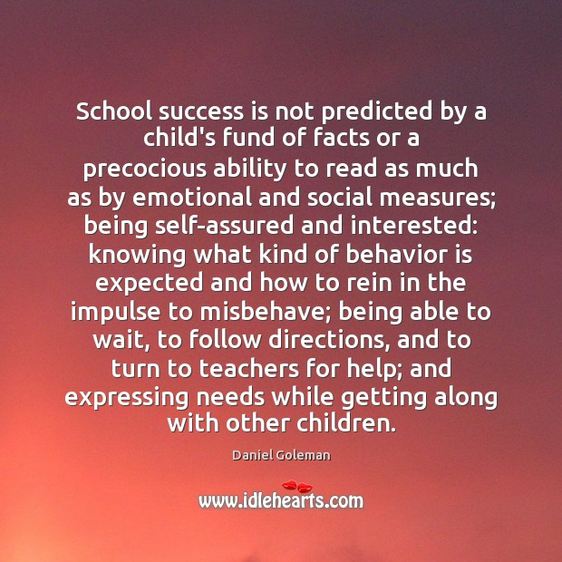 School success is not predicted by a child's fund of facts or Image