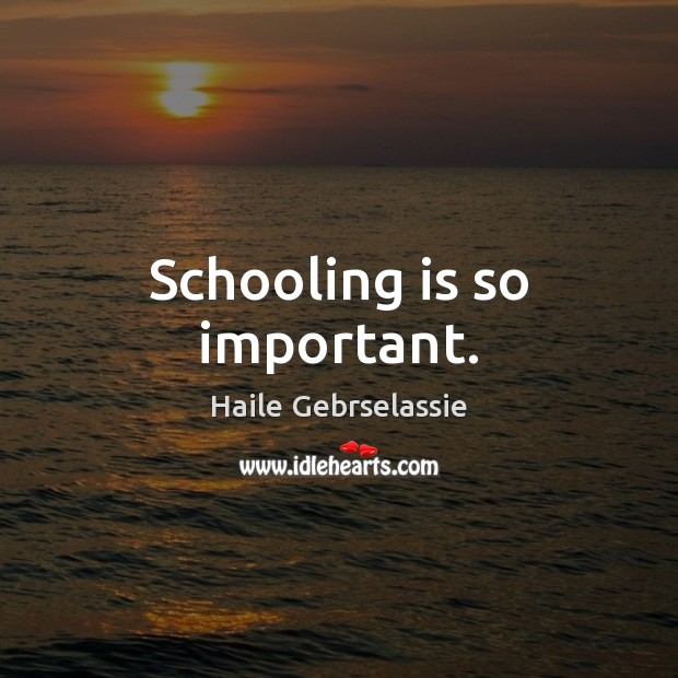 Image, Schooling is so important.