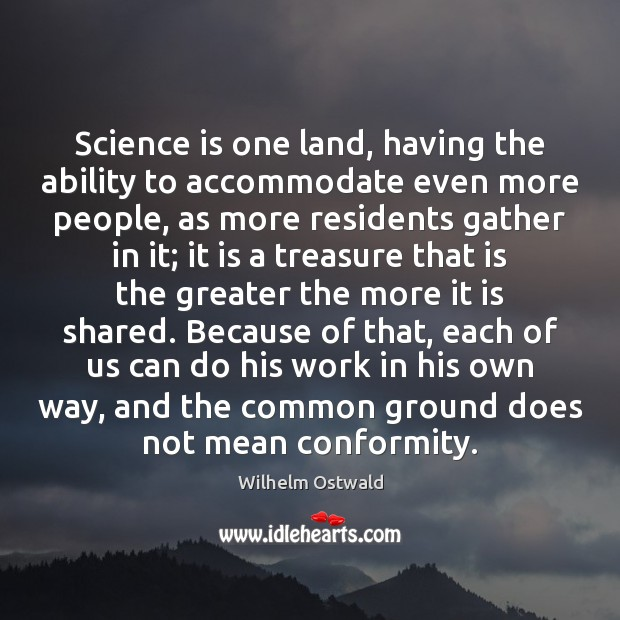 Science is one land, having the ability to accommodate even more people, Image