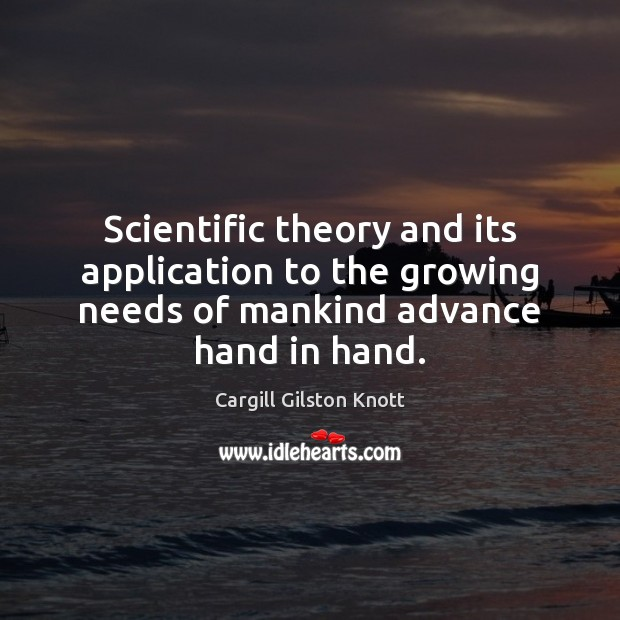 Image, Scientific theory and its application to the growing needs of mankind advance