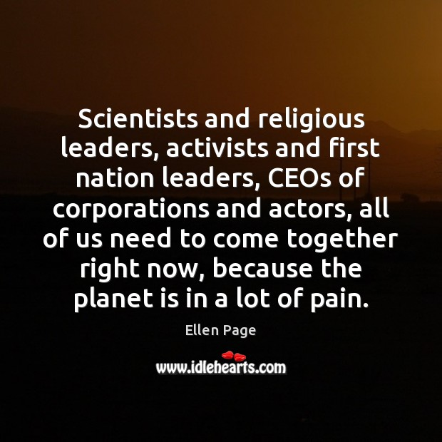Image, Scientists and religious leaders, activists and first nation leaders, CEOs of corporations
