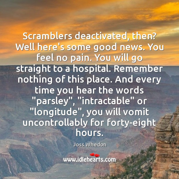 Scramblers deactivated, then? Well here's some good news. You feel no pain. Joss Whedon Picture Quote