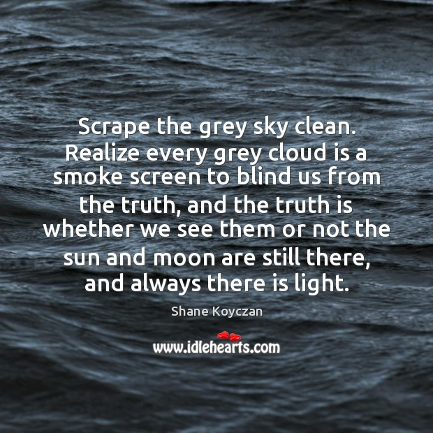 Scrape the grey sky clean. Realize every grey cloud is a smoke Image