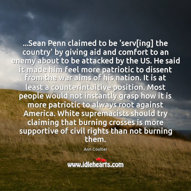 …Sean Penn claimed to be 'serv[ing] the country' by giving aid Image