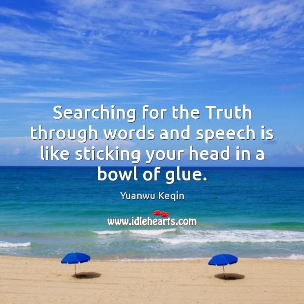 Searching for the Truth through words and speech is like sticking your Image