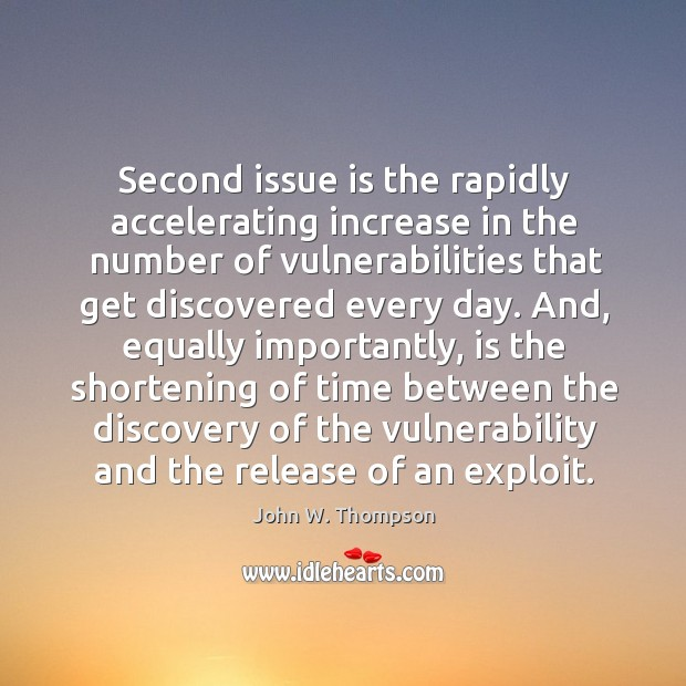Second issue is the rapidly accelerating increase in the number of vulnerabilities that get discovered every day. Image