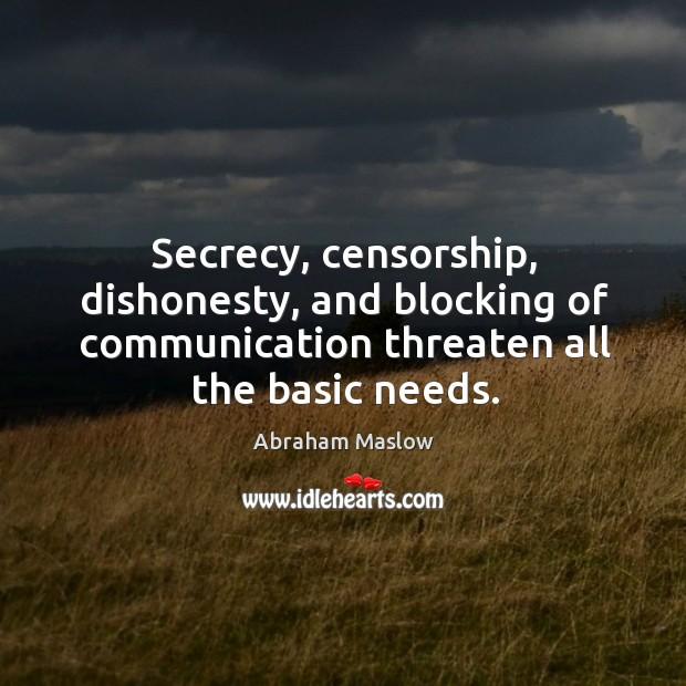 Image, Secrecy, censorship, dishonesty, and blocking of communication threaten all the basic needs.