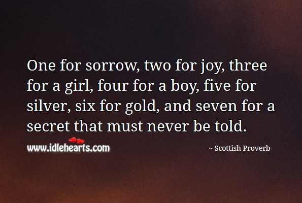 One for sorrow, two for joy, three for a girl, four for a boy, five for silver, six for gold, and seven for a secret that must never be told. Scottish Proverbs Image