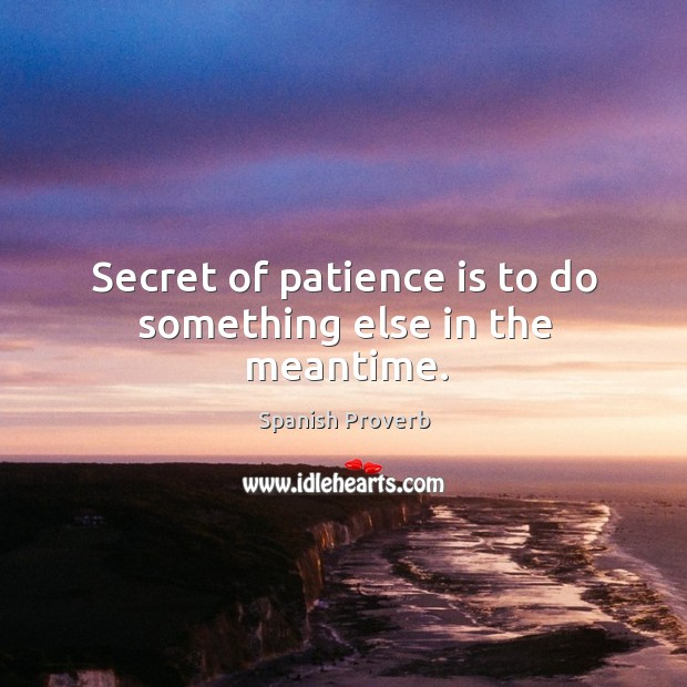 Image, Secret of patience is to do something else in the meantime.