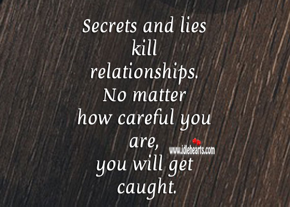 Image, Secrets and lies kill relationships.
