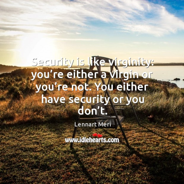 Security is like virginity: you're either a virgin or you're not. You either have security or you don't. Image