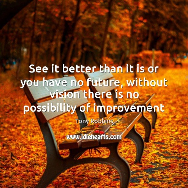 See it better than it is or you have no future, without Tony Robbins Picture Quote