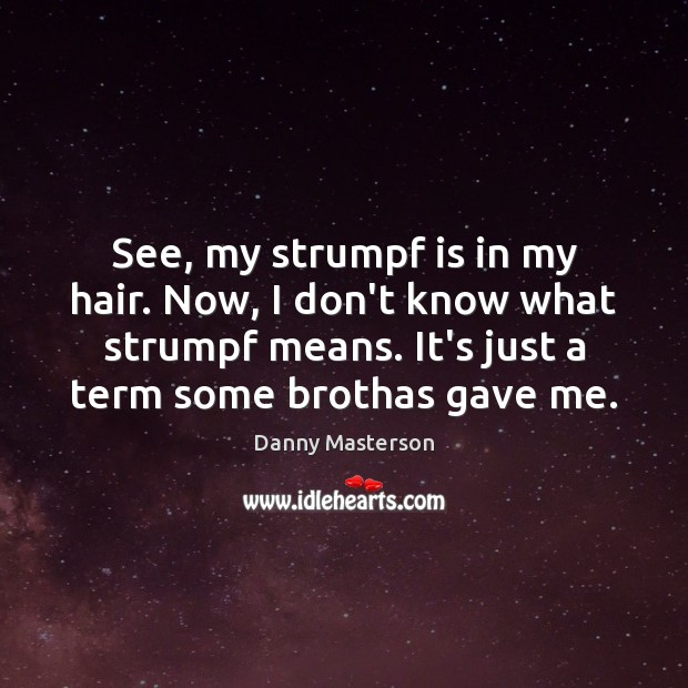 See, my strumpf is in my hair. Now, I don't know what Danny Masterson Picture Quote