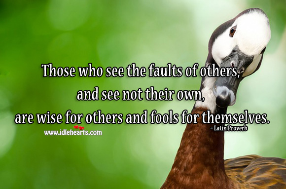 Those who see the faults of others, and see not their own, are wise for others and fools for themselves. Latin Proverbs Image