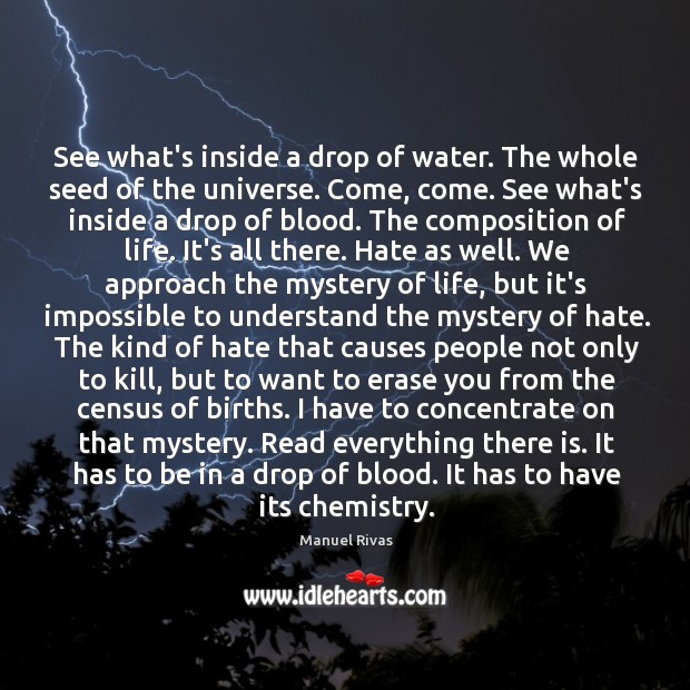 See what's inside a drop of water. The whole seed of the Manuel Rivas Picture Quote