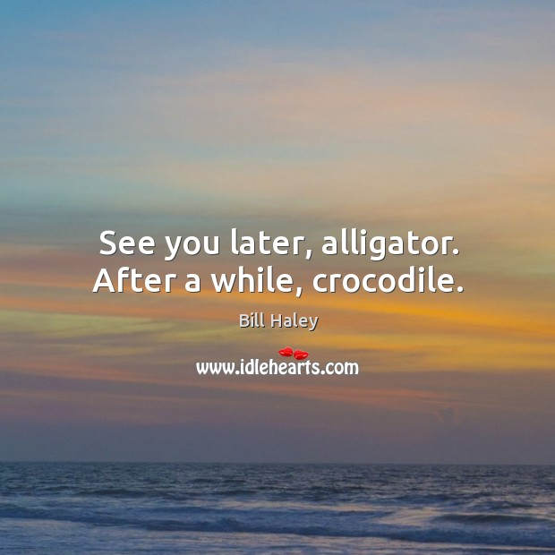Image, See you later, alligator. After a while, crocodile.