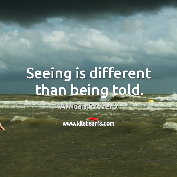 Image, Seeing is different than being told.